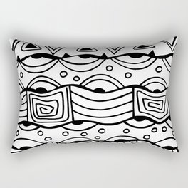 Wavy Tribal Lines with Shapes - Doodle Drawing Rectangular Pillow