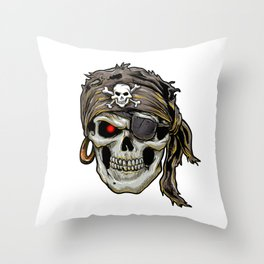 pirate skull with black bandana Throw Pillow