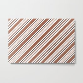 Sherwin Williams Canyon Clay Thick and Thin Angled Lines Triple Stripes Metal Print