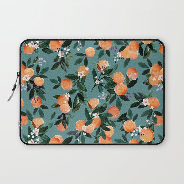 Dear Clementine - oranges teal by Crystal Walen Laptop Sleeve