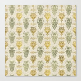 Gold and Green Glitter owl pattern on canvas Canvas Print