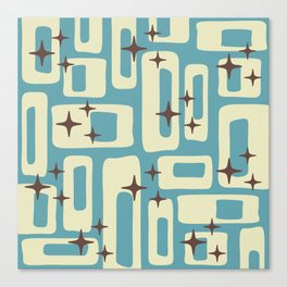 Retro Mid Century Modern Abstract Pattern 576 Blue Brown Canvas Print