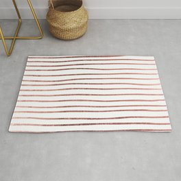 Chic elegant faux rose gold striped pattern Rug