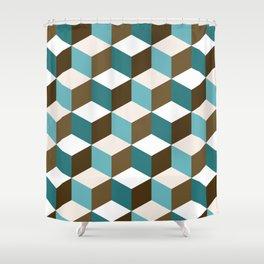 Cubes Pattern Teals Browns Cream White Shower Curtain
