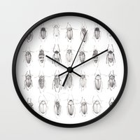 bugs Wall Clocks featuring Bugs by Emma Kelly