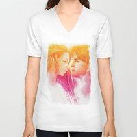 valentine V-neck T-shirts featuring Valentine by Aurora Wienhold