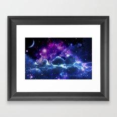 Galaxy Clouds Purple Blue Framed Art Print
