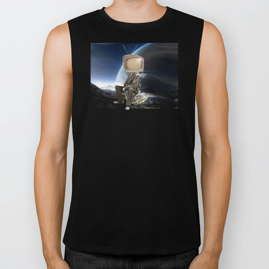 Space TV  Collage Biker Tank
