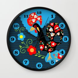Portuguese Rooster with blue dots on black background  Wall Clock