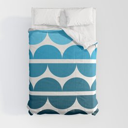 Blue semicircle waves Comforters