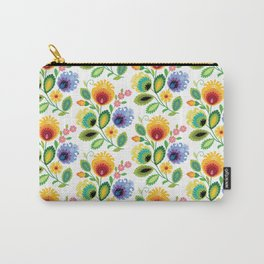 Polish Folk Flowers Yellow Carry-All Pouch