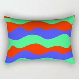 Retro abstract red, green and blue wavy decorative pattern graphic design. Gift ideas. Home decor. Rectangular Pillow