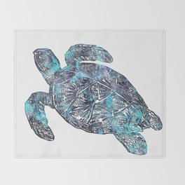 Sea Turtle Blue Watercolor Art Throw Blanket