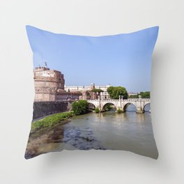 Ponte Sant'Angelo and Castel Sant'Angelo - Rome Throw Pillow