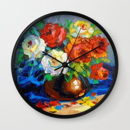 Bouquet of red and white roses Wall Clock