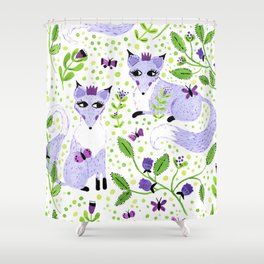 Lavender Foxes Shower Curtain