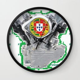 Portuguese Biker soccer fan. Wall Clock