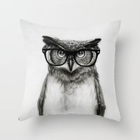 pop Throw Pillows featuring Mr. Owl by Isaiah K. Stephens