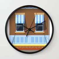 movies Wall Clocks featuring Day at the Movies by Chris Redford