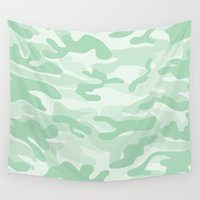military Wall Tapestries featuring light Green Military Camouflage Pattern by SW Creation