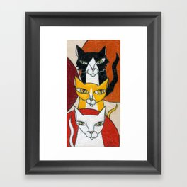 Three Cats Framed Art Print
