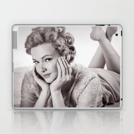 """""""Curlers Before Bed"""" - The Playful Pinup - Lounging in Lace Pin-up Girl by Maxwell H. Johnson Laptop & iPad Skin"""