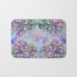 Watercolor hydrangeas and leaves Bath Mat
