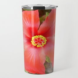 Head On Shot of a Red Tropical Hibiscus Flower Travel Mug