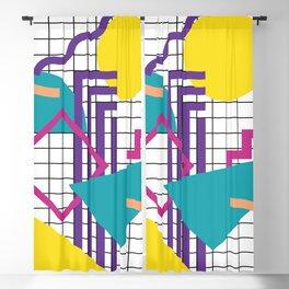 Memphis Pattern - 80s Retro White Blackout Curtain