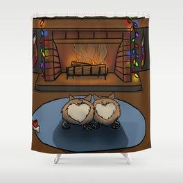 Cozy Corgi Christmas Shower Curtain