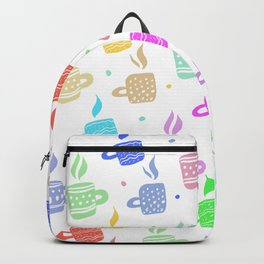 Modern pastel winter holidays coffee hand drawn pattern Backpack