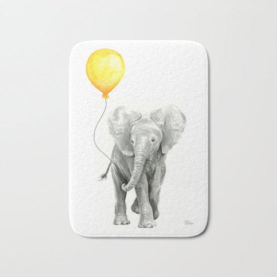 Elephant Watercolor Yellow Balloon Whimsical Baby Animals Bath Mat