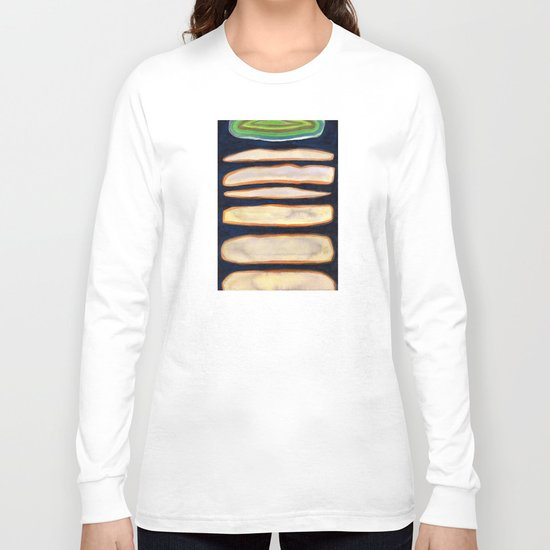 Green Cloud over Floating Shapes Long Sleeve T-shirt