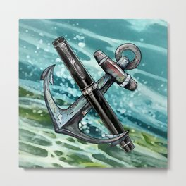 Anchored Sailor Pro Gear | Fountain Pen Mascots #3 Metal Print