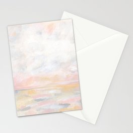Ecstatic - Pink and Yellow Pastel Seascape Stationery Cards