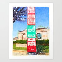 Parking Signs Water Color Art Print