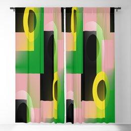 color blocking geometric pink green yellow black Blackout Curtain