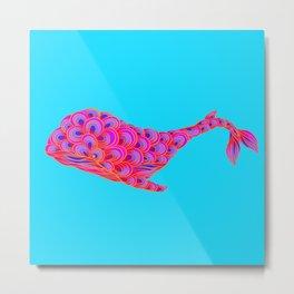 Rainbow Whale Metal Print