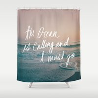 leah flores Shower Curtains featuring The Ocean is Calling by Laura Ruth and Leah Flores by Leah Flores