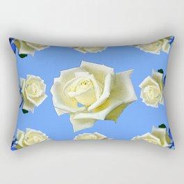WHITE ROSES BLUE GARDEN DESIGN Rectangular Pillow
