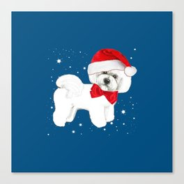 Bichon Frise red christmas holiday themed pattern print pet friendly dog breed gifts Canvas Print