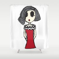 audrey Shower Curtains featuring Audrey by Farquharson