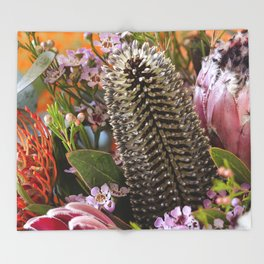 Banksia and Protea blooms Throw Blanket