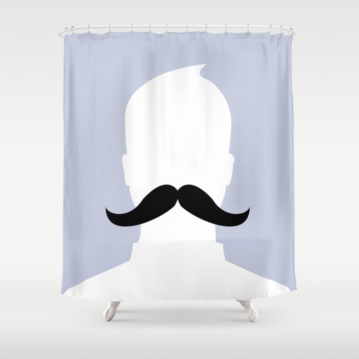 Ironic Profile Mustache Shower Curtain by jamesthor | Society6
