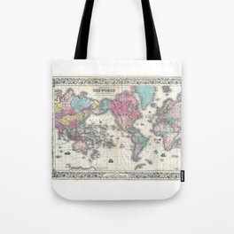 1852 J.H. Colton Map of the World Tote Bag