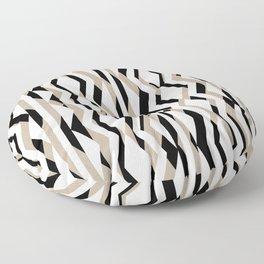 Abstract Cream Brown Black Geometric Pattern Floor Pillow