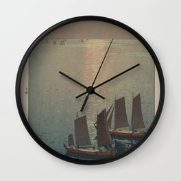 boats on the water woodcut Wall Clock