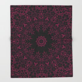 Star Of The East Mandala With Siren Red Color & Black Backdrop Throw Blanket