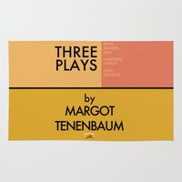 tenenbaum Area & Throw Rugs featuring Three Plays By Margot Tenenbaum by FunnyFaceArt