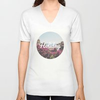 holiday V-neck T-shirts featuring Holiday by Emma.B